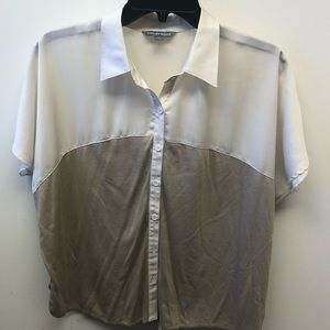 Dressy or Casual shirt - ivory white two tone